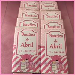 Chocolatinas bautizo osito rosa