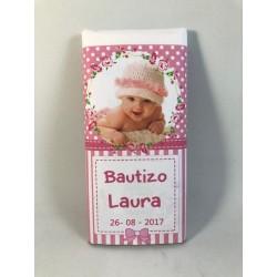 Tableta chocolate con foto para bautizo niña