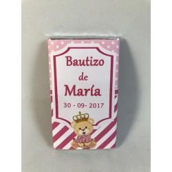 Chocolatinas bautizo osita con rosas