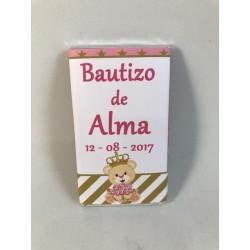 Chocolatinas bautizo osita con rosas en dorado