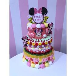 Tarta de chuches de 3 pisos de Minnie personalizadas