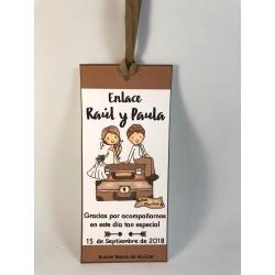 Marca páginas boda maletas marrón