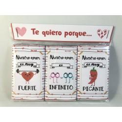 """Pack de 3 chocolatinas """"Te quiero por que..."""""""