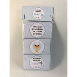 Pack de 3 chocolatinas comunión caliz azul