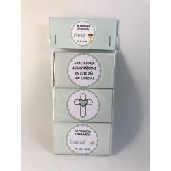 Pack de 3 chocolatinas comunión cruz verde