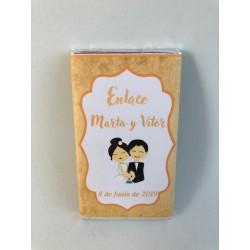 Chocolatina personalizada bautiboda oro
