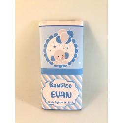 Tableta chocolate bautizo elefante azul