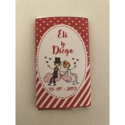 Chocolatina personalizada boda novios nube roja