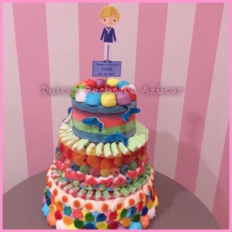tarta de chuches de dos pisos niño/a de comunión