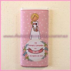 Tableta chocolate comunión niña rosa