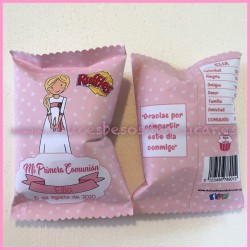 Bolsa Snack niña comunión rosa