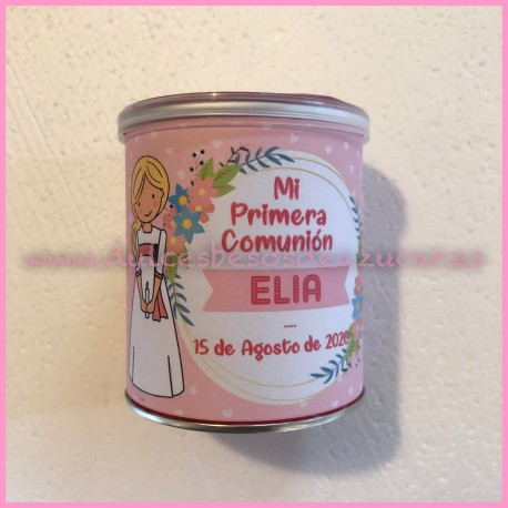 Bote Pringles niña comunion rosa