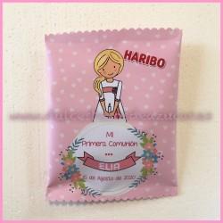 Bolsa chuches personalizada niña comunión rosa