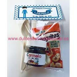 Mini Bote de Nutella personalizada con bolsa de conguitos y cucharilla en bolsa con etiqueta