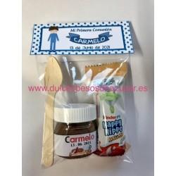Mini Bote de Nutella personalizada con happy hypo y cucharilla en bolsa con etiqueta