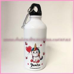 Botella aluminio inicial unicornio
