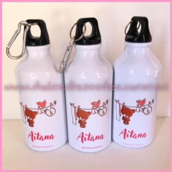 Botella aluminio bautizo ropita bebe