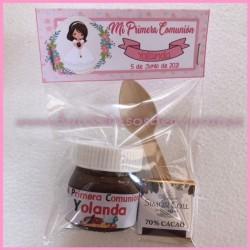 Mini Bote de Nutella personalizado con napolitana de chocolate y cucharilla